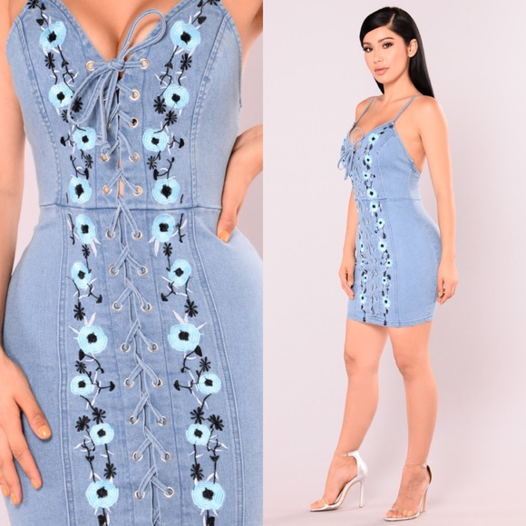 07b09151d2b Fashion Nova Dresses   Skirts - Fashion Nova Early Days Denim Lace Up Dress  Large